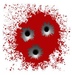 Bullet holes on red blood splatter background vector