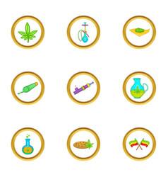 Cannabis icon set cartoon style vector