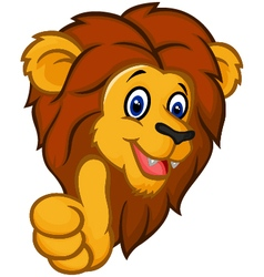 Cartoon lion mascot giving thumbs up vector