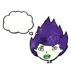 cartoon vampire head with thought bubble vector image