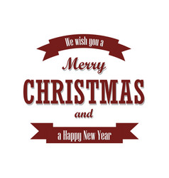 christmas text red ribbon merry vector image