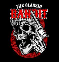 classic banditskull handling gunhand drawing vector image