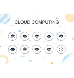 Cloud computing trendy infographic template thin vector