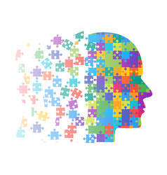 color puzzle piece silhouette head puzzle vector image