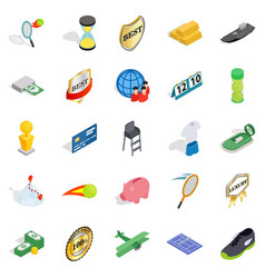 Compensation icons set isometric style vector