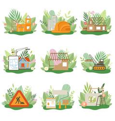construction process set houses cottages under vector image