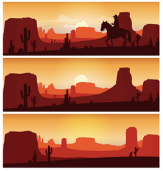 Cowboy riding horse against sunset background wil vector