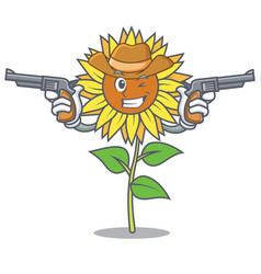 Cowboy sunflower character cartoon style vector
