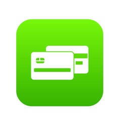 credit card icon digital green vector image