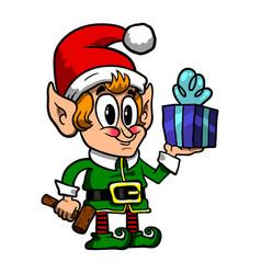 Cute christmas elf vector