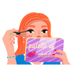 cute girl using mascara holding palette of vector image