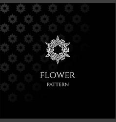 elegant luxury flower line pattern logo design vector image