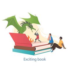 Fantastic story in book vector