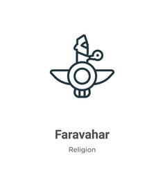 Faravahar outline icon thin line black faravahar vector