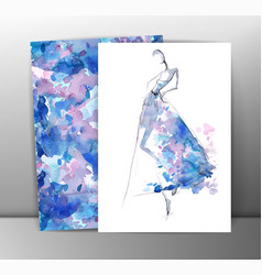 Fashion women in sketch style Greeting card with vector