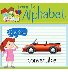 Flashcard letter C is for convertible vector