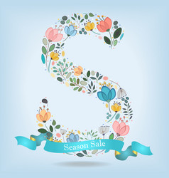 floral letter s with blue ribbon vector image