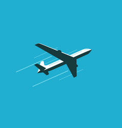 flying plane in sky commercial airline airplane vector image