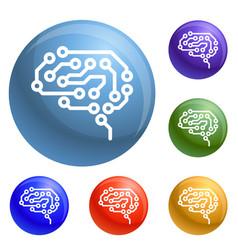 future brain icons set vector image