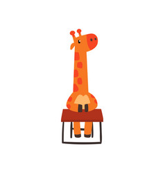 giraffe sitting at the desk cute animal cartoon vector image