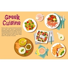 Greek cuisine flat icon with appetizer dishes vector