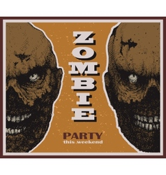 Halloween zombie party banner vector image