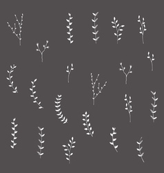 Hand-drawn branches graphic design elements set vector image