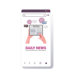 hands using tablet pc reading daily news online vector image