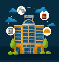 hotel building taxi and suitcase vector image