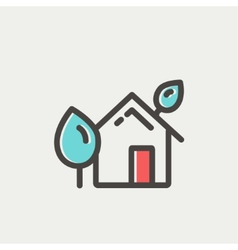 House with leaves thin line icon vector