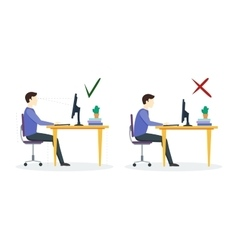 Incorrect and Correct Sitting Position vector