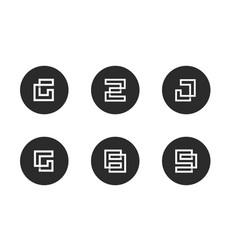 Initial letter g z j 8 9 logo icon set vector