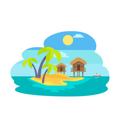 Island with palms and bungalow vector