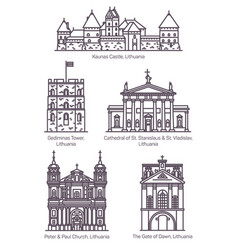 isolated lithuania famous landmarks in thin line vector image