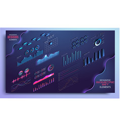 isometric set of infographics with data vector image