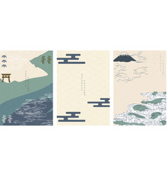 japanese template with abstract background line vector image