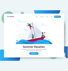 landing page template summer vacation with vector image