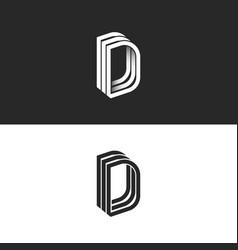Letter d logo monogram isometric lines geometric vector