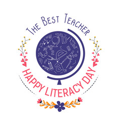 literacy day isolated icon literature teacher vector image
