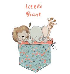 little pocket animals vector image