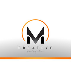 M letter logo design with black orange color cool vector
