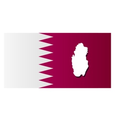 Map of Qatar with flag vector image