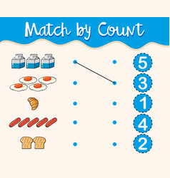 Match by count with different types of food vector