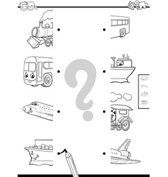 Match vehicles halves coloring page vector