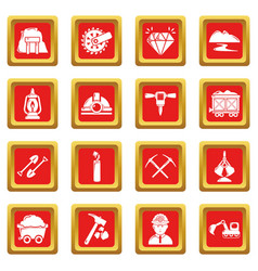 Mining minerals business icons set red square vector
