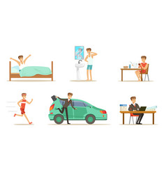 Morning routine a mans day set vector