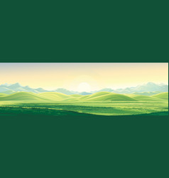 Mountain landscape with a dawn an elongated vector