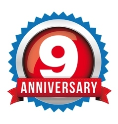 Nine years anniversary badge with red ribbon vector