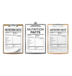 Nutrition facts blank template diet vector