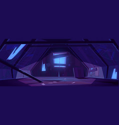 Old attic in abandoned house at night vector